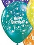 11 inch Birthday Sparkling Balloons<br>Jewel Teal<br>50 pack