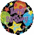 Birthday Balloons & Stars Black<br>3 pack
